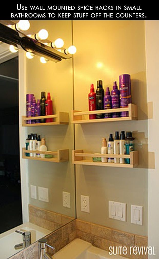 Organize your bathroom by getting your toiletries off the counter using simple spice racks. 16 Great DIY Home Ideas | Mommy Has A Potty MouthMommy Has A Potty Mouth