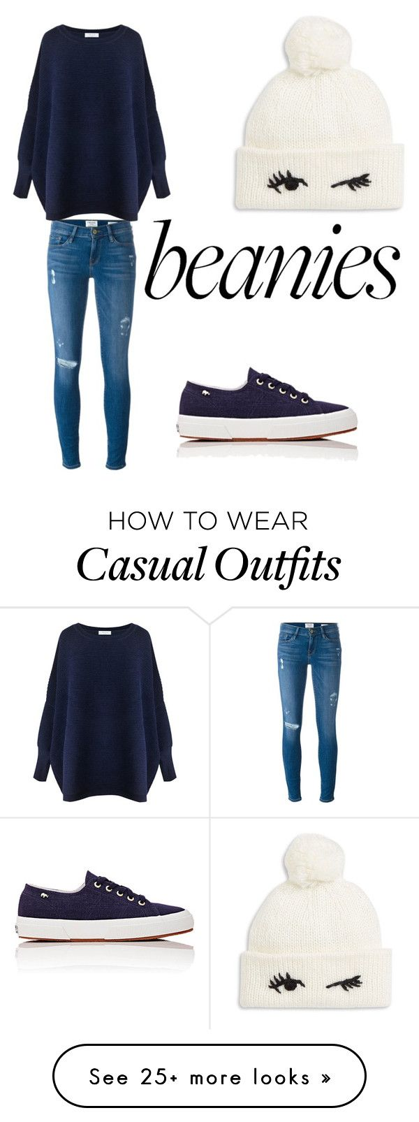 """""""#cute#casuals#beanies"""" by anya2410 on Polyvore featuring Frame Denim, Paisie, Kate Spade and Superga"""