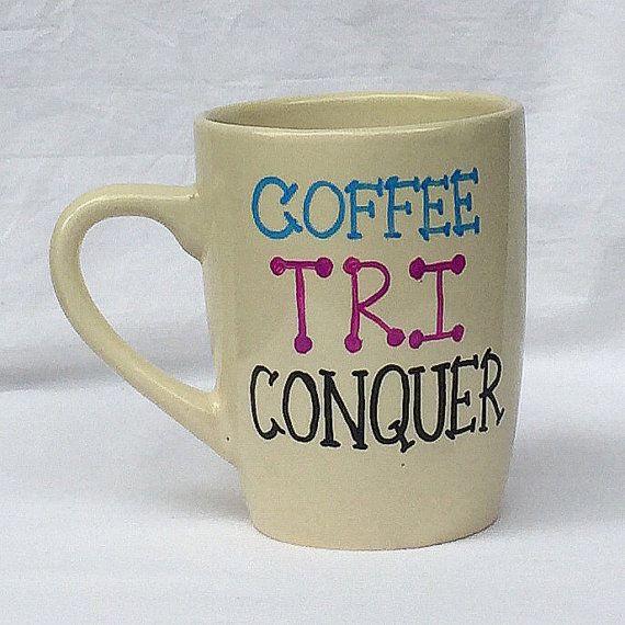 Triathlon coffee mug Tri coffee mug by NoteworthyKnitnacks on Etsy