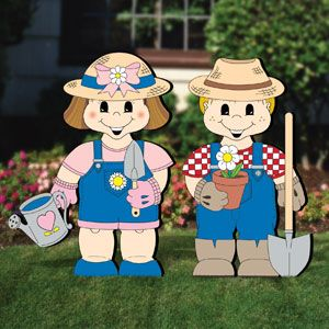 """Dress-Up Darlings - Garden Pals Outfits DIY Woodcraft Pattern #2071 - Let these guys help you in your garden and watch the flowers bloom around them! Simple to craft with our full-size patterns and simple painting guides. Largest (girl) is 31""""H x 21""""W. 2 Designs! Pattern by Sherwood Creations #woodworking #woodcrafts #pattern #craft #yardart #garden"""