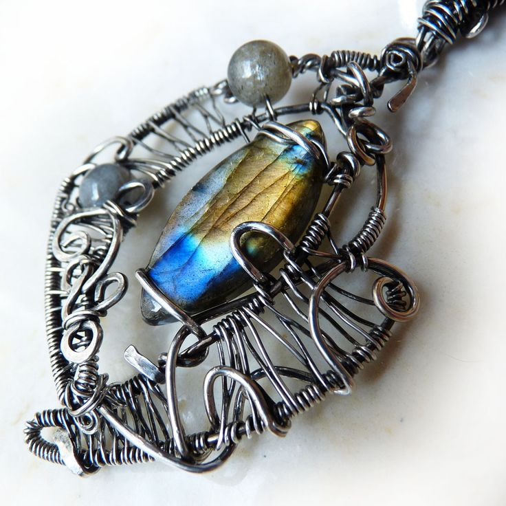 Labradorite Marquise Wire Wrapped Wearable Art Pendant