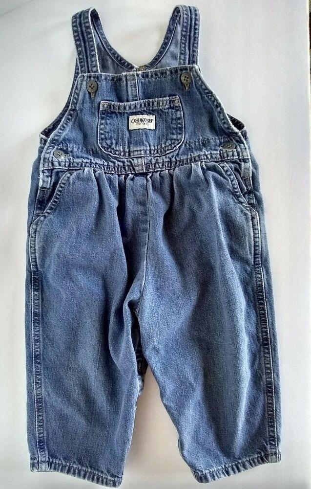 90a0ebbf7c9a Vtg Baby Girl Oshkosh Bib Overalls Gathered Vestbak Romper Blue Denim 18 MO   Oshkosh  DenimBibOveralls  Everyday