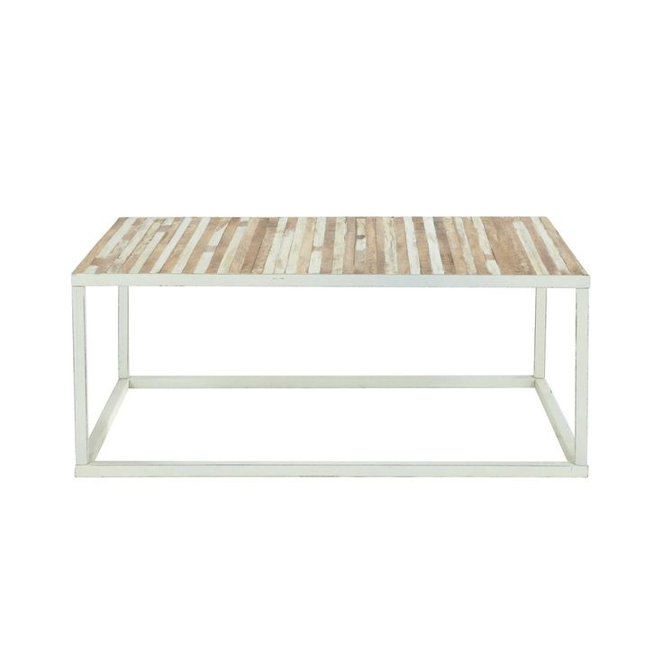 Metal and wood coffee table in white W 100cm | Maisons du Monde