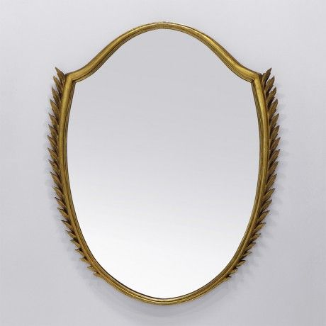 Giovanni Gariboldi; Gilded Wood and Glass Wall Mirror, 1940s.