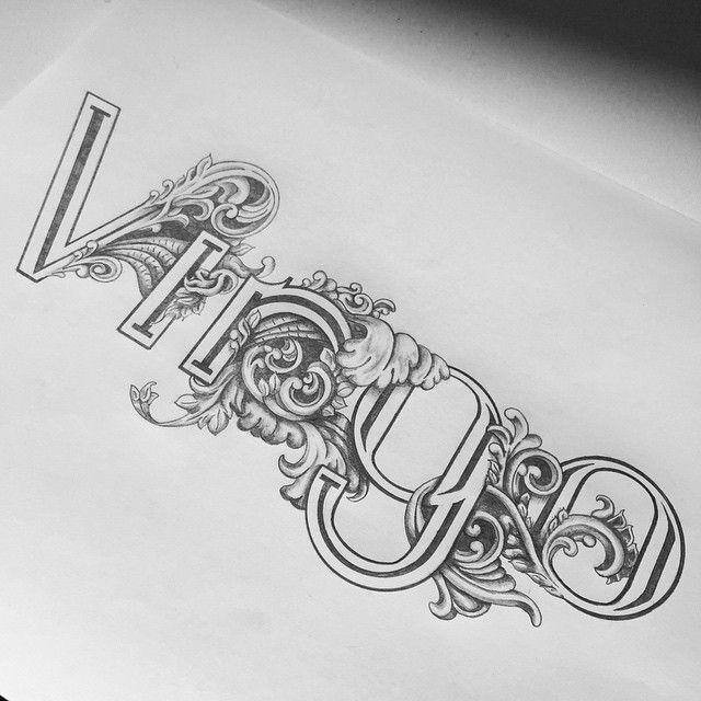 Twelve Signs of Typography: Virgo  (hand drawn zodiac calendar)