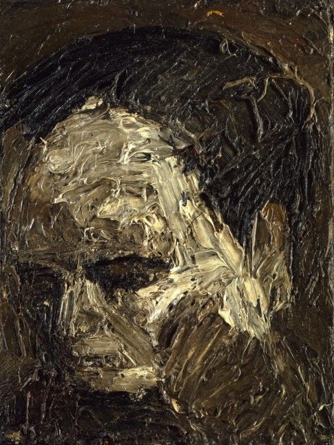 Frank Auerbach Head of Leon Kossoff (1954) oil on board, 41.3 x 31.7 cm, Private Collection
