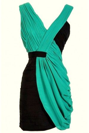Two Tone V-Neck Pleated Chiffon Designer Dress by Minuet in Navy/Teal