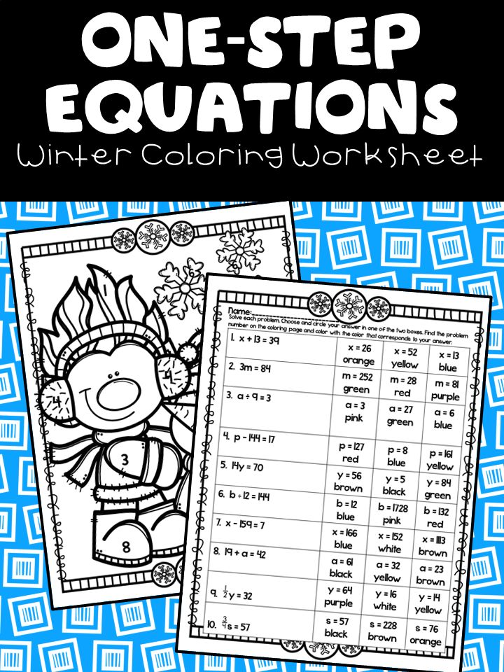 one step equations winter coloring worksheet my tpt classroom one step equations sixth. Black Bedroom Furniture Sets. Home Design Ideas