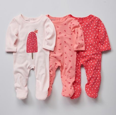 Babies' Pack of 3 Cotton Pyjamas, Press-studs on the Back - PINK DARK 2 COLOR/MULTICOL OR - 5