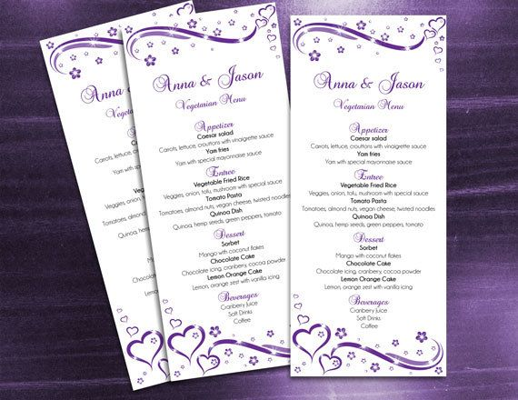 DIY Printable Wedding Menu Microsoft Word Template, Easy, Editable, Instant Download - Purple Heart Romance for Weddings and Valentine's Day Events