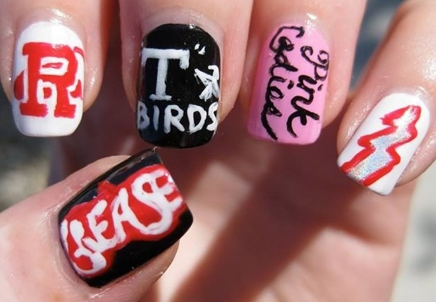 Grease Nails. Though I probably couldn't get my nails to look like this, I still love the design. Especially since the school is performing the play Grease.
