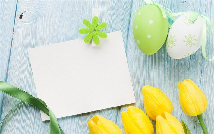 Scarica sfondi Pasqua, tulipani gialli, primavera, pasqua, uova