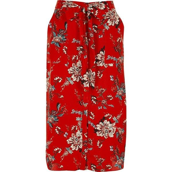 River Island Red floral print shirt skirt (1.085 ARS) ❤ liked on Polyvore featuring skirts, midi skirts, red, women, river island, tie waist skirt, tall skirts, floral skirt and floral knee length skirt