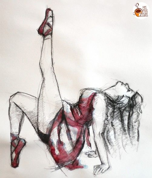 Tuto : comment dessiner une danseuse #dessin #aquarelle #fusain