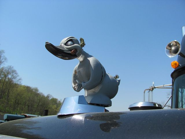"Rubber Duck hood ornament on ""Convoy"" Mack RS700L at Museum of Transportation - St. Louis."