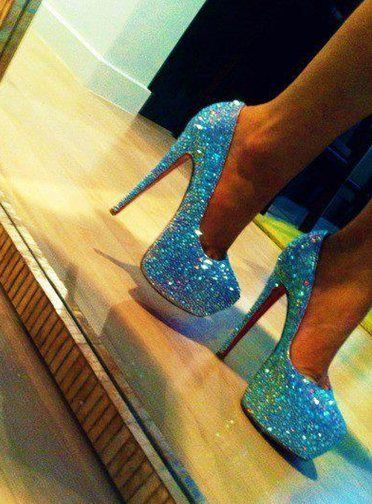 I LOVE these heels!! They are perfect because blue is one of my favorite colors and it's even better because they have glitter on them!