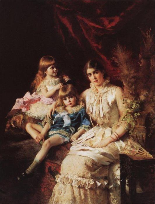 Семейный портрет. Ю.П.Маковская с детьми Сергеем и Еленой