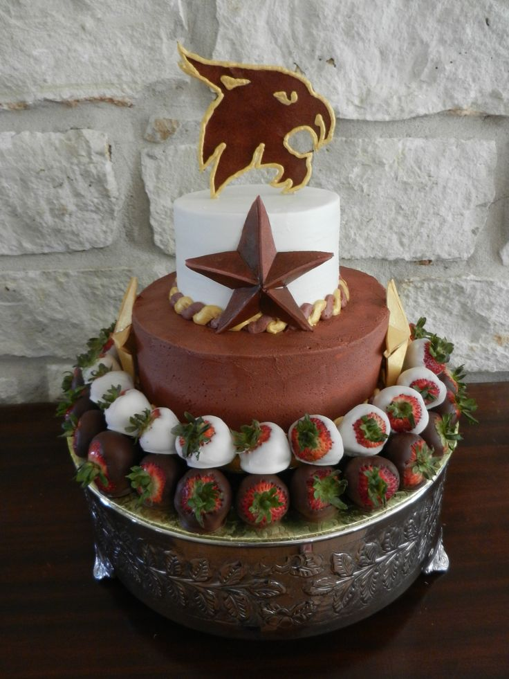 Texas State cake, Texas state groom's cake, round groom's cake, chocolate strawberries, dipped berries, bobcat cake, maroon and gold cake