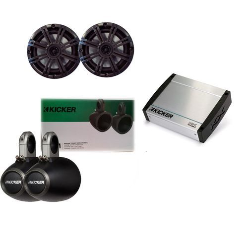 Kicker Marine Bundle with 40KXM4002 Amp+OEM Replacement LED Speakers + 12KMTES Enclosure