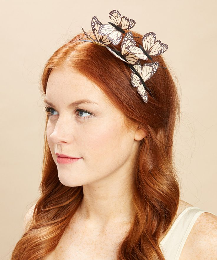 Take a look at this Jeanne Simmons Accessories Tan Monarch Butterfly Headband today!