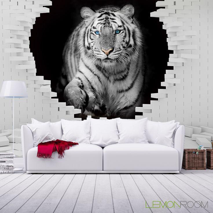#Fototapeta 3D #Tygrys >> http://lemonroom.pl/fototapety-35-Fototapety-D-wf207-Tygrys-w-scianie.html