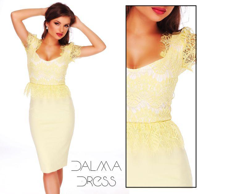 Midi elegant dress made form triple veil and lace in pastel shades of yellow: https://missgrey.ro/ro/rochii/rochie-dalma/400?utm_campaign=iulie&utm_medium=rochie_dalma&utm_source=pinterest_produs