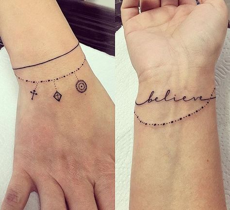 Tatuagem pulseira Penduricalhos Delicada Minimalista