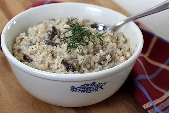 Mushroom, Rosemary and Goat Cheese Risotto. What a great fall dish.