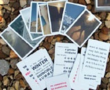 These inspiration cards have a multi-purpose. Jane uses them in place of oracle cards at the end of her foot readings. She also uses them in her creative writing classes.