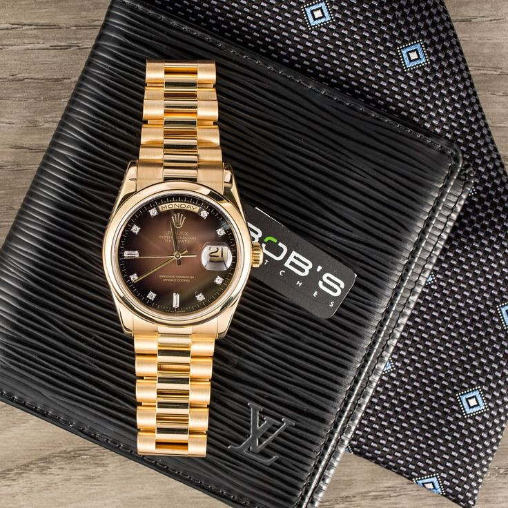Rolex Presidential Day-Date with a Chocolate Vignette dial | Bob's Watches | #Rolex #President #DayDate #ChocolateDial #BobsWatches Posted 8/17/16
