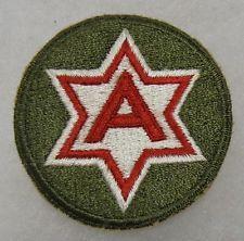 ORIGINAL 1940s WW2 Vintage 6th U.S. ARMY SHOULDER PATCH INSIGNIA
