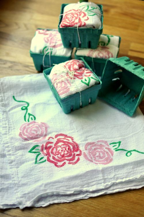 DIY - Celery Stamp Tea Towels with Fabric Paint. from Leona-lane.com.  This is so creative.  I am going to use this technique for some gifts and maybe I'll stamp a skirt or scarf for me.