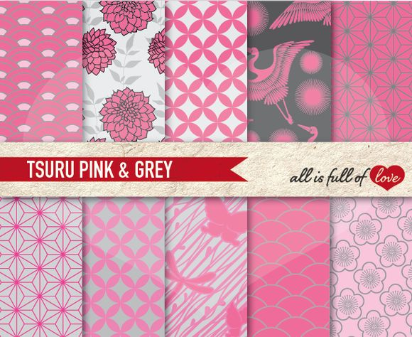 Pink Grey Japan Digital Patterns Set by All is full of Love on @creativemarket