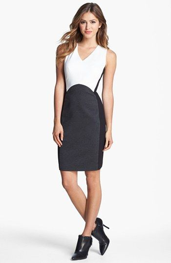 Vince Camuto Colorblock V-Neck Sheath Dress (Regular & Petite) (Nordstrom Exclusive) available at #Nordstrom