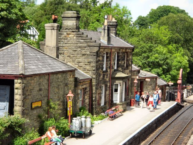 Known as the Hogsmeade Station in the first Harry Potter film, Goathland Station in Yorkshire on the North Yorkshire Moors Railway, is quite charming.