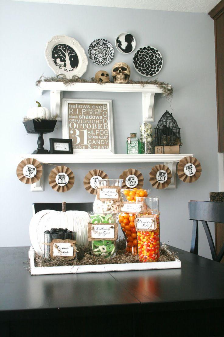 Halloween: Halloween Display, Halloween Parties, Decorating Ideas, Halloween Candy, Shelves, Halloweendecor, Halloween Decor Ideas, Halloween Ideas, Candy Jars
