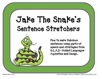 This is a great way to stretch sentences to use more parts of speech.  I took the third page and printed it onto an 18 X 24 poster print (see Staples blueprint pages- cost me just under $4 and then I had it laminated so I could use it over and over again).