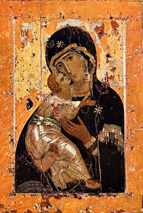 Here is the 12th Century Our Lady of Vladimir icon, painted in Constantinople