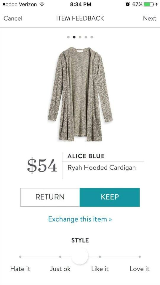 Hard to tell the color from the pic, but it has potential. Hoping it's not a space dye pattern. Stitch Fix Alice Blue Ryah Hooded Cardigan