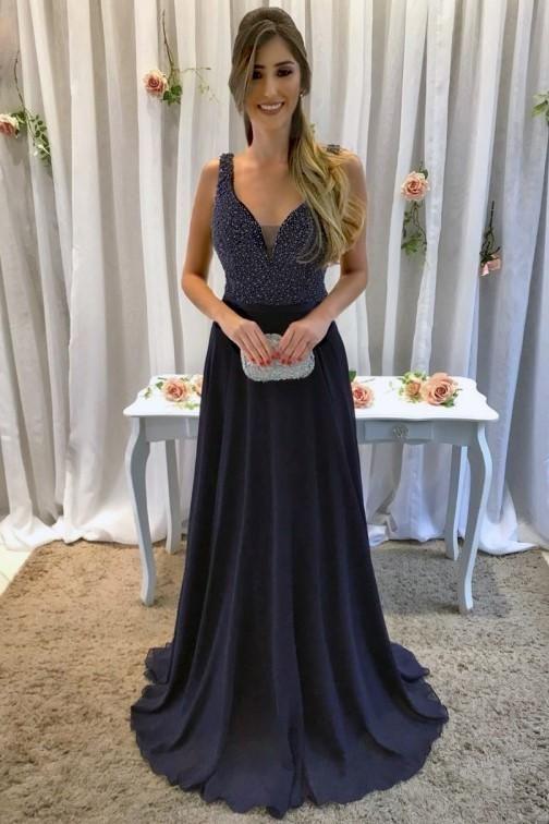 Beaded Plunge Neck Sleeveless Backless Langes festes Chiffon Abendkleid - JoJoBride #bridesmaid #bridesmaiddresses #bridesmaiddresses2018 #bridesmaid ...