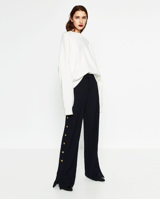 Image 1 of TROUSERS WITH GOLDEN SIDE BUTTONS from Zara