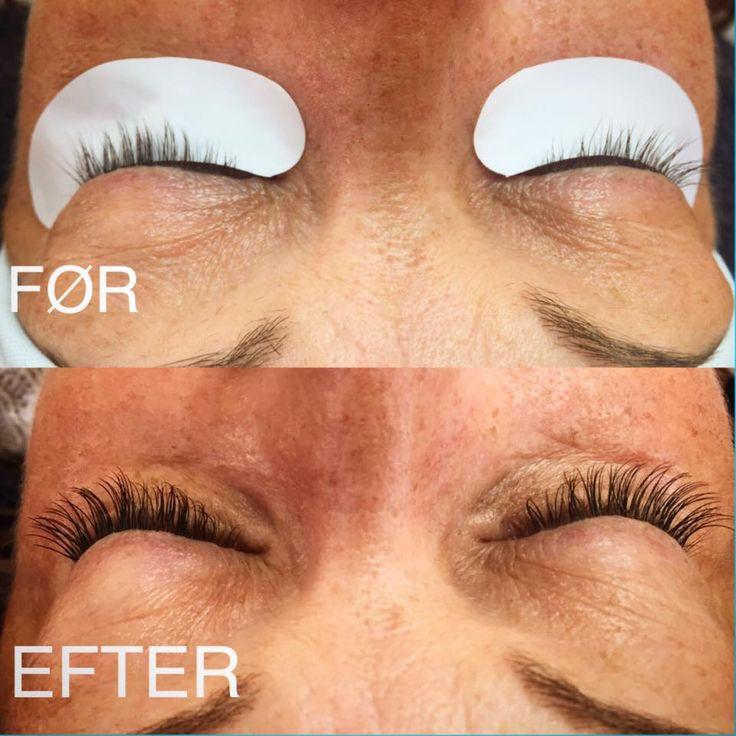 Før og efter billeder af en af vores elevers arbejde på et eyelash extensions kursus, du kan også blive uddannet eyelash tekniker hos Nail4you