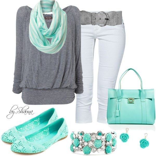 so cuteColors Combos, Mint Green, Fashion Ideas, Style, Clothing, Flats Shoes, Grey, White Jeans, Spring Outfit