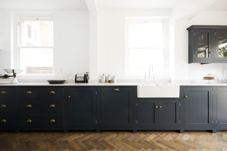 Pantry Blue deVOL Kitchen with 'Bella Brass' cup handles and knobs