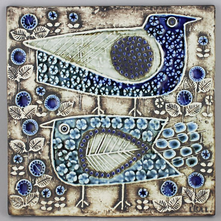 Lisa Larson (Unik 1961) Beautiful Birds Wall Plaque (blue 2)