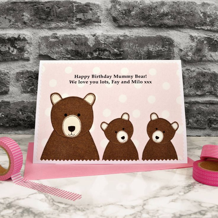'mummy bear' personalised birthday card from children by jenny arnott cards & gifts | notonthehighstreet.com