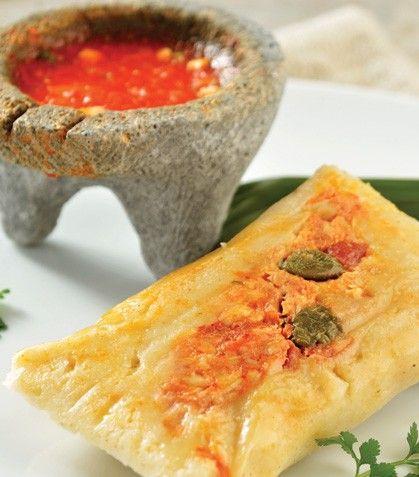 """""""Tamal de minilla en salsa de chile ancho"""""""