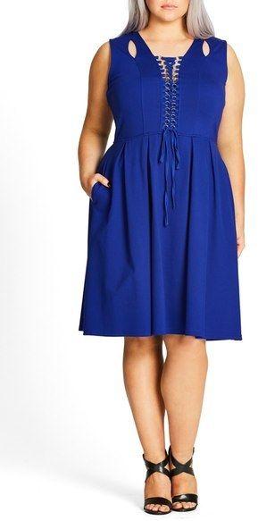 Plus Size Lace-Up Fit & Flare Dress