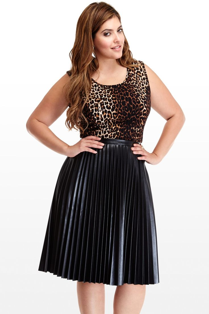 pleated faux leather skirt fashion 2 plus size