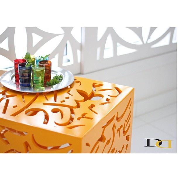 little table with arabic calligraphy  Instagram photo by @divandesignbh (DivanDesignBH)   Statigram